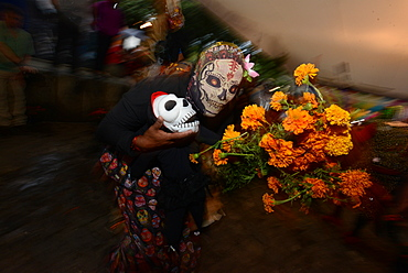 People participating in comparsas (street dances) during the Day of The Dead Celebration, Oaxaca City, Oaxaca, Mexico, North America