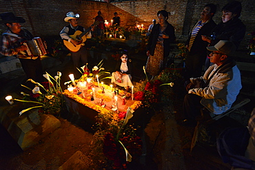 Family singing during the Day of the Dead Celebration, Xoxocotlan, Oaxaca, Mexico, North America