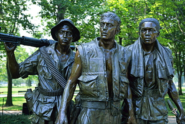 Close-up of statues on the Vietnam Veterans Memorial in Washington D.C., United States of America, North America