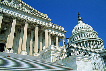 Colonnades and dome of the Capitol in Washington D.C., United States of America, North America