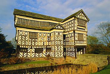 The 16th century black and white gabled house, Little Moreton Hall, Cheshire, England, UK