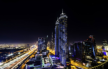 Long exposure overlooking Dubai at night, United Arab Emirates, Middle East