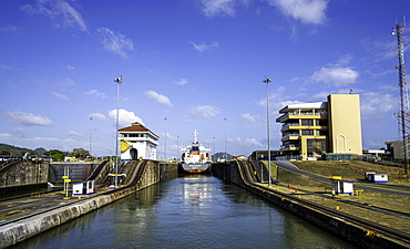 A view looking at the Miraflores Locks and Visitors Center from the Panama Canal, Panama, Central America
