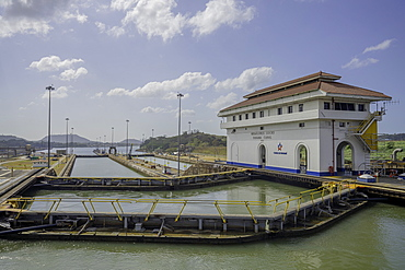Sailing through the Miraflores Locks on the Panama Canal, Panama, Central America