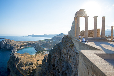 View over St. Pauls Bay from the Acropolis of Lindos, Rhodes, Dodecanese, Greek Islands, Greece, Europe