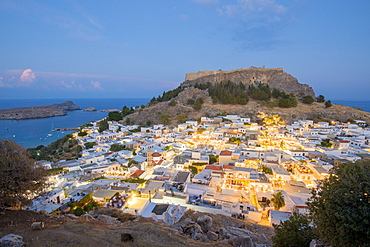 Night view over Lindos town, Rhodes, Dodecanese, Greek Islands, Greece, Europe