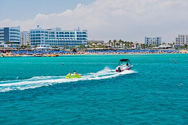 People enjoying watersports on Protaras Beach, Cyprus, Mediterranean, Europe