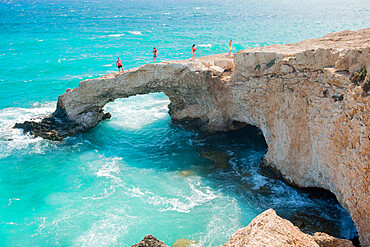 Tourists on Monachus Monachus Arch Protaras, Cyprus, Mediterranean, Europe