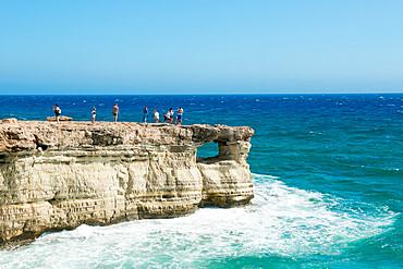 Tourists at The Sea Caves, Protaras, Cyprus, Mediterranean, Europe