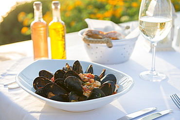 Mussels with white wine at a restaurant in Pefkos, Rhodes, Dodecanese, Greek Islands, Greece, Europe