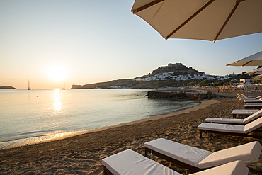 View over Lindos beach at sunrise, Lindos, Rhodes, Dodecanese, Greek Islands, Greece, Europe
