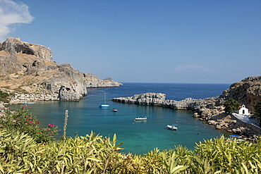 View of St. Pauls Bay, Lindos, Rhodes, Dodecanese, Greek Islands, Greece, Europe