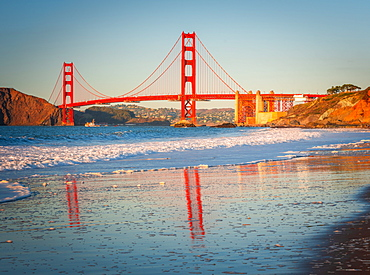 Golden Gate Bridge at sunset, San Francisco, California, United States of America, North America