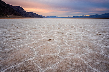 Wide angle closeup of White Salt Flats during sunset near Salt Lake City, Utah, United States of America, North America