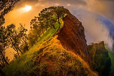 Sunset on the NaPali Cliffs coastline, Kauai, Hawaii, United States of America, Pacific