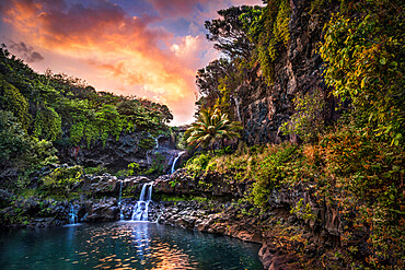 The sunset clouds float by over the Pools of 'Ohe'o (Seven Sacred Pools) Haleakala National Park Maui, Hawaii