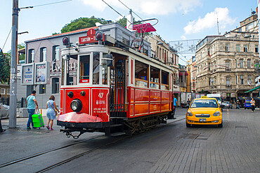 Old fashioned trams, Istanbul, Turkey, Europe