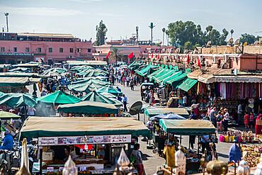 Shops and restaurants around Jemaa el-Fna Square, UNESCO World Heritage Site, Marrakech, Morocco, North Africa, Africa