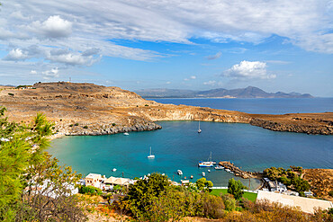 View of the Bay of Lindos from the Acropolis, Rhodes, Greece