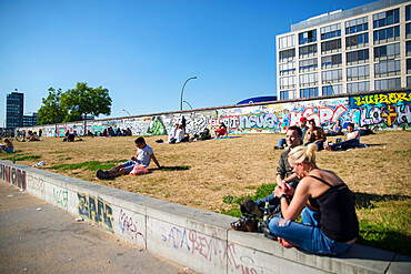 East side gallery street art on Berlin wall by River Spree