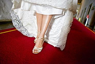 Hispanic bride getting ready on her wedding day