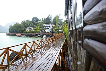Traditional wood boardwalks in Caleta Tortel coastal village, Aysén Region, Chile