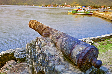 18th century cannons at Forte Defensor in the harbor of Paraty, Rio de Janeiro State, Brazil
