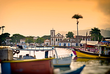 View of Capela de Santa Rita and Colonial Paraty from the Bay, Rio de Janeiro State, Brazil