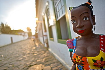 Afro-Brazilian Namoradeira statue in the Historic District of Paraty, Brazil