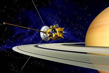 Artwork of Cassini during SOI maneuver