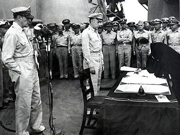Mamoru Shigemitsu Signs Surrender, 1945