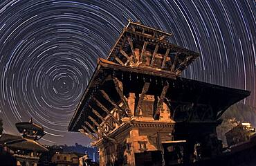 Stars and Indreshwar Temple, Nepal