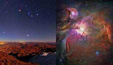 Orion Nebula, From Earth and Space