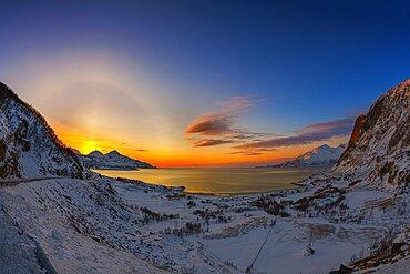 Solar Halo and Sun Pillar, Norway