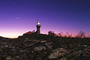Venus, Jupiter, and Regulus, Barrenjoey Lighthouse
