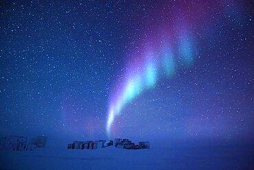 Aurora Australis over Concordia base, Antarctica