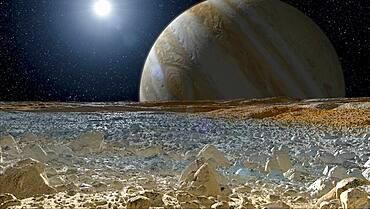 Jupiter Seen from the Surface of Europa