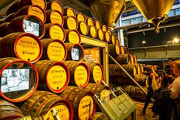 Guinness story on the TV- barrels, at Guinness Storehouse, museum, brewery, exhibition, Dublin, Ireland