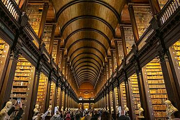 The historic Long Room of the Old Library, in Trinity College, Dublin, Ireland