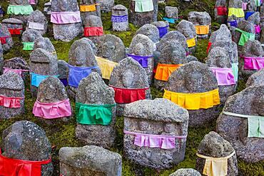 Jizo statues, in Kiyomizu-dera temple, Kyoto. Kansai, Japan.