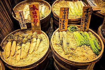 Pickles shop at Nishiki Food Market, Kyoto, Japan