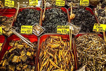 dried fish shop at Nishiki Food Market, Kyoto, Japan