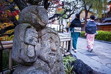 Sculpture, in Shirakawa-minami-dori, Gion district, Kyoto. Kansai, Japan.