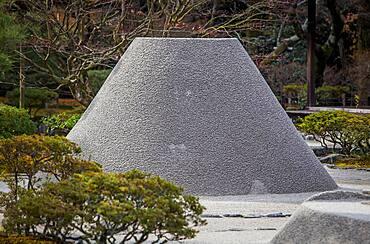 Zen garden symbolizing Mount Fuji and the sea, in Ginkaku ji temple, Kyoto, Kansai, Japan