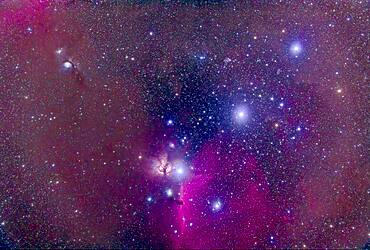 The Belt of Orion with the Horsehead Nebula at botton, the dark nebula set in the bright emission nebula IC 434. The nebula at left of the Zeta Orionis (aka Alnitak) is the Flame Nebula, NGC 2024. The reflection nebula at upper left is the M78 complex with NGC 2071. The other Belt stars are Alnilan (centre) and Mintaka (upper right). The field contains a wealth of other blue reflection and red emission nebulas.