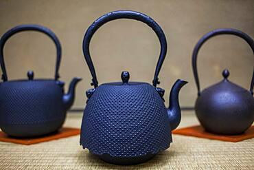 Exhibition of iron teapots or tetsubin, nanbu tekki, in Workshop of Morihisha Suzuki,craftsmen since 1625, Morioka, Iwate Prefecture, Japan