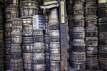 outer molds stacked, for to make iron teapots or tetsubin, nanbu tekki, in Workshop of Morihisha Suzuki,craftsmen since 1625, Morioka, Iwate Prefecture, Japan