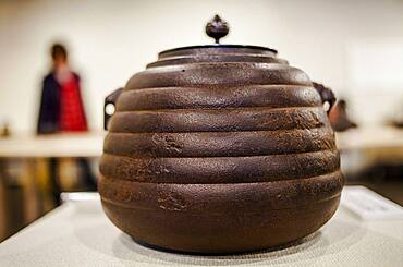 Exhibition of iron teapots or tetsubin, nanbu tekki,  in Cyu-o-kouminkan, Morioka, Iwate Prefecture, Japan