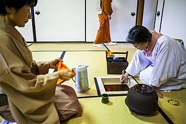 Tea ceremony with  iron teapot or tetsubin, in Cyu-o-kouminkan, Morioka, Iwate Prefecture, Japan