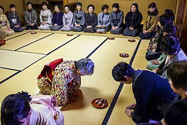 Tea ceremony,serving cakes, in Cyu-o-kouminkan, Morioka, Iwate Prefecture, Japan